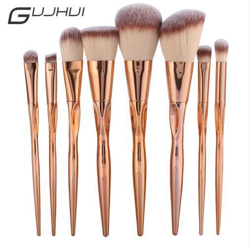 Juego de brochas de maquillaje de Metal de 8 piezas GUJHUI Pro Juego de brochas de maquillaje para maquillaje maquiagem