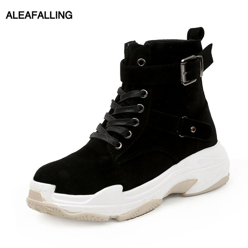 Aleafalling Women Boots Mature Lady Flock Soft Leather Winter Boots Warm Buckle -4035