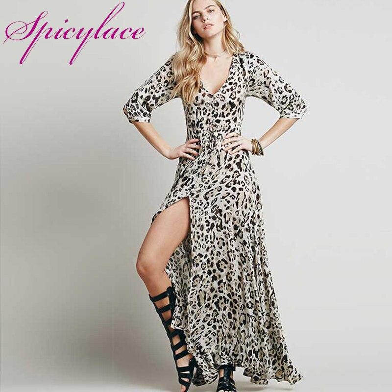 a2a2652de Spicylace النساء ليوبارد طباعة الشيفون الخامس الرقبة ماكسي اللباس للحزب  الخريف جديد عارضة مثير عارضة انقسام فستان بكم طويل