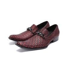 Clássico sapato social masculino vermelho festa de casamento sapatas de vestido dos homens de couro genuíno deslizar sobre mocassins dedo apontado elegante tamanho 47
