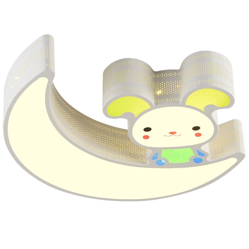 Modern Simple Novelty Cartoon Cute Animal Rabbit Small LED Ceiling Lamp Light Nursery Kids Baby Child Room Bedroom Home Lighting