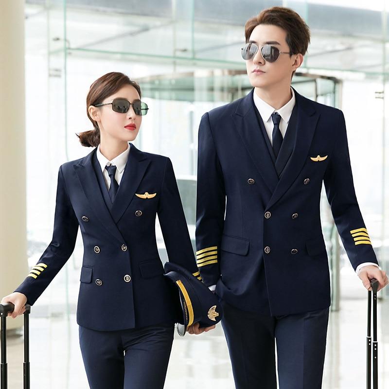 Aviation Captain Uniform Male Pilot Empty Uniform Professional Suit Overalls Korean Version  The Self-cultivation Ladies Uniform