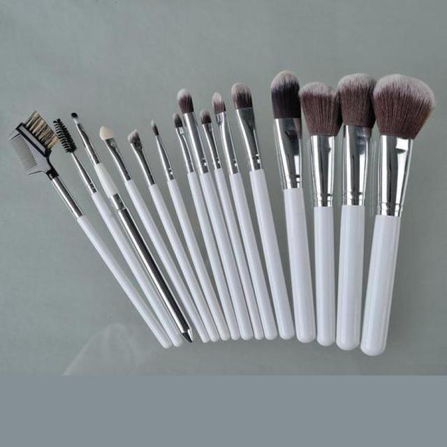 Profesional 15 unids Pinceles de Maquillaje Conjunto de Maquillaje de Tocador Suave Cepillo Cosméticos herramientas Con PU Bolso Lindo Belleza Maquillaje Kits Blanco caliente