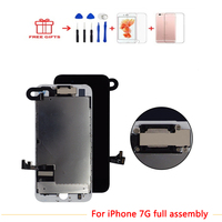 1Pcs Full parts LCD screen For iPhone 7 7G ,with front camera earpiece speaker back plate Display Touch Screen Replacement