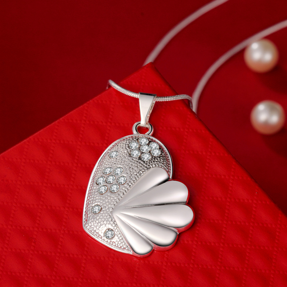 925 sterling silver jewelry fine fashion solid fish heart with crystal stone pendant for women wedding promotion jewerly