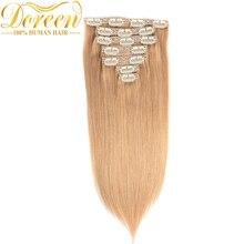 Doreen бразильские Remy человеческие волосы#27 медовый блонд клип в человеческих волос Прямые 120 г полный набор головы 7 штук 14-26 дюймов