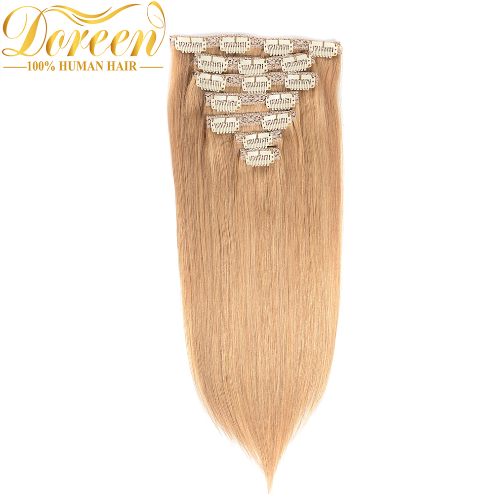 Doreen Brazilian Remy Human Hair #27 Honey Blonde Clip In Human Hair Extensions Straight 120G Full Head Set 7Pecs 14-26 Inches