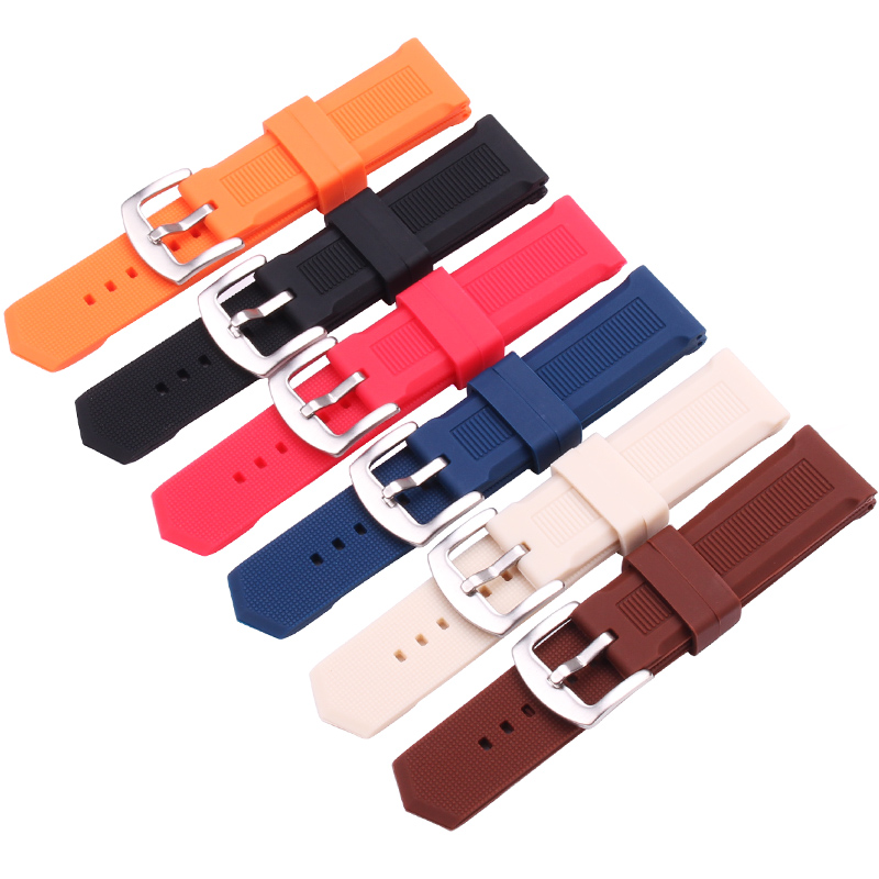 HENGRC 22mm Silicone Rubber Watchbands Black Brown Blue Red Orange Gray Dive Sport Waterproof Watch Strap Stainless Steel Buckle black blue gray red 18mm 20mm 22mm waterproof silicone watchband replacement sport ourdoor with pin buckle diving rubber strap