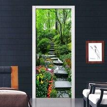 Green Tree Path 3D Door Sticker Home Decor Self Adhesive Removable Waterproof Wall Sticker Living Room Door Wallpaper Room Decor цена