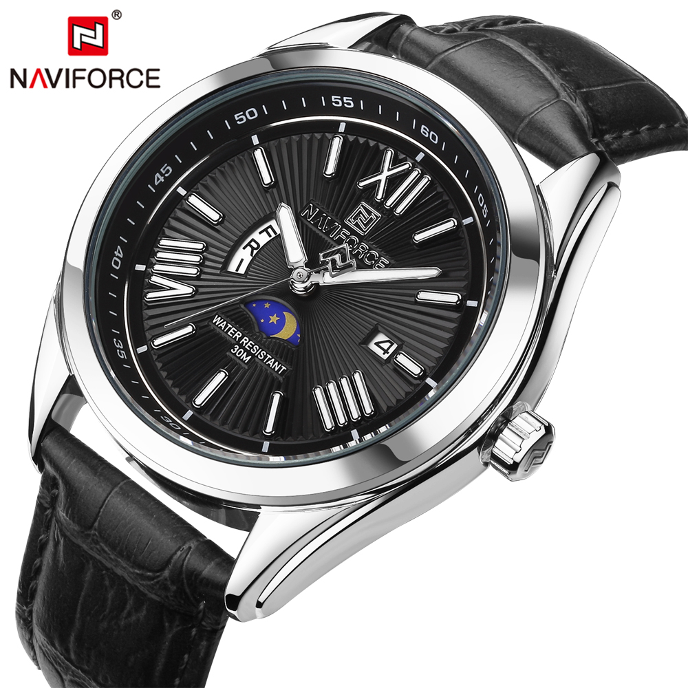 NAVIFORCE Top Luxury Brand Men Quartz Watch Leather Strap Week Male Clock Business Wristwatch Waterproof Relogio Masculino