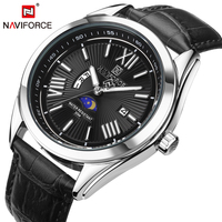 NAVIFORCE Top Luxury Brand Men Quartz Watch Genuine Leather Strap Week Display Male Clock Business Wristwatch