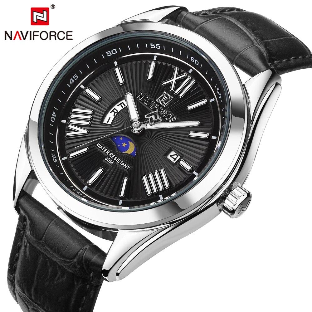NAVIFORCE Top Luxury Brand Men Quartz Watch Leather Strap Week Male Clock Business Wristwatch Waterproof Relogio Masculino jubaoli rotatable bezel male watch quartz leather strap wristwatch