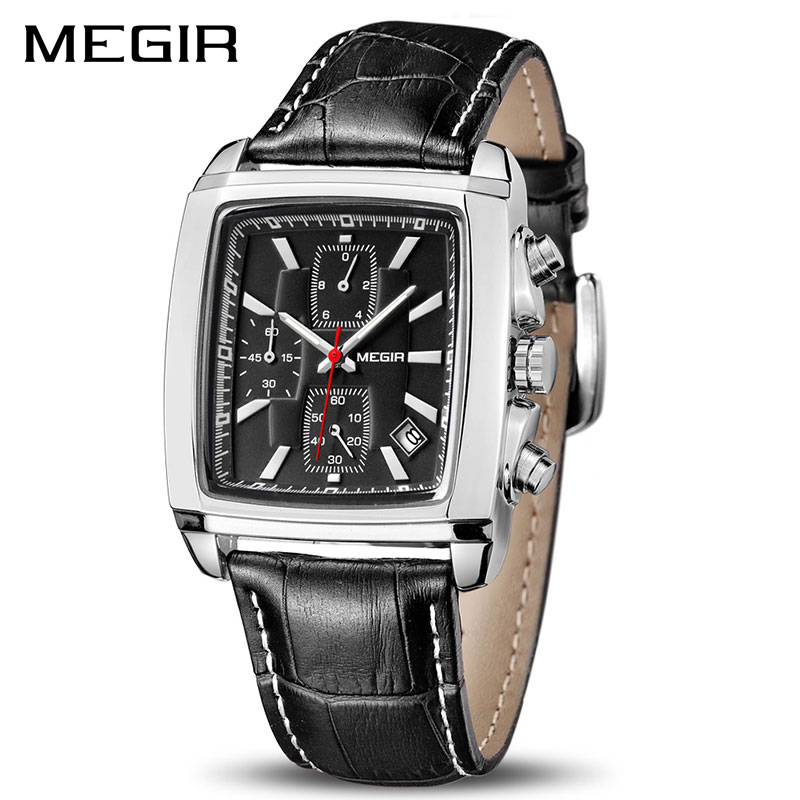 MEGIR Official Quartz Men Watch Genuine Leather Watches Clock Men Chronograph Watch Relogio Masculino For Man Male Students 2028