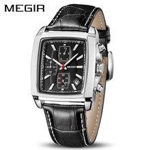 MEGIR الرسمية ساعة كوارتز رجالية ساعات جلد طبيعي ساعة الرجال ساعة كرونوغراف Relogio Masculino للرجل الذكور الطلاب 2028