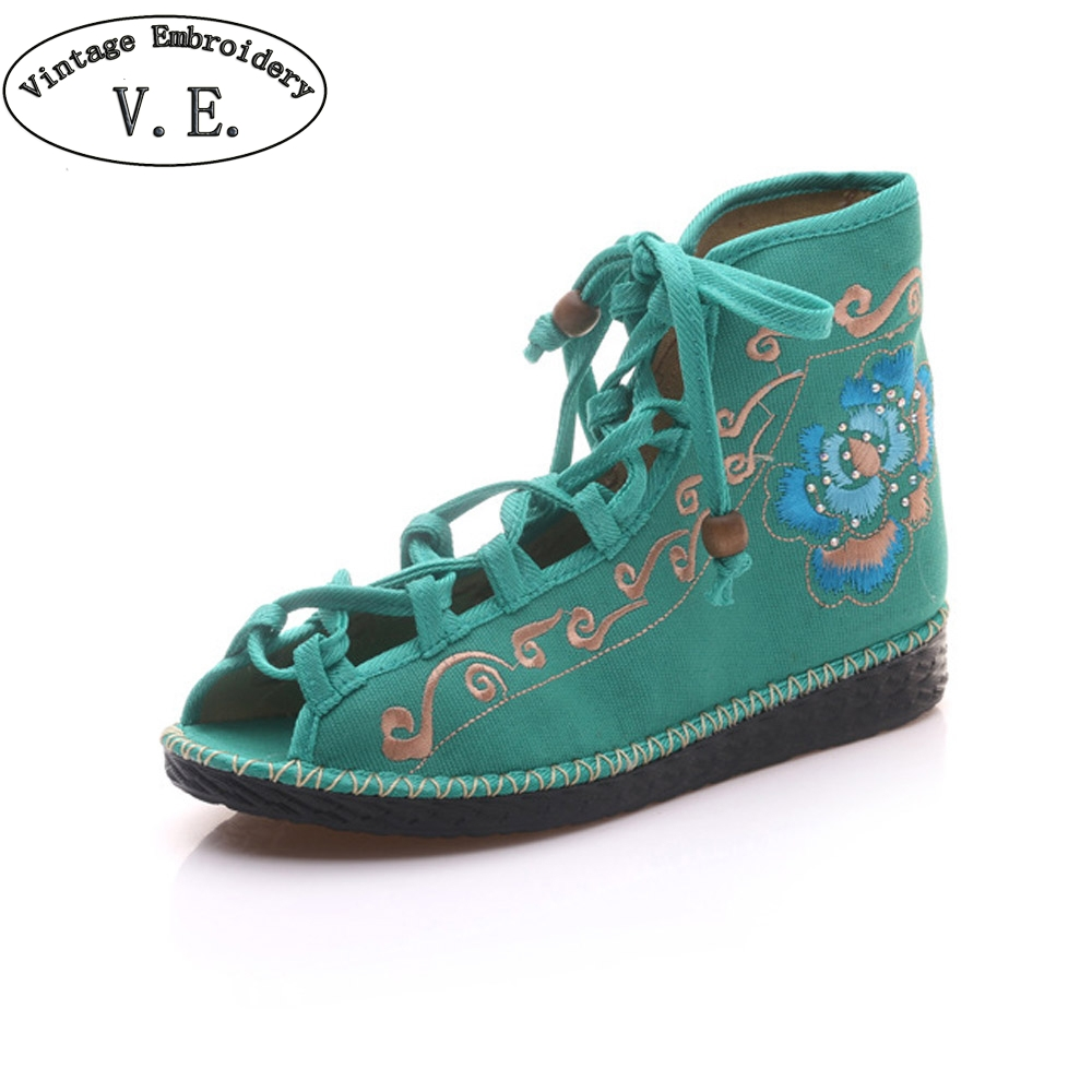 Chinese Women Flats Shoes Flower Summer New Sandals Peep Toe Embroidered Shoes Ethnic Lace up Shoes Woman Dance Casual Shoes new women chinese traditional embroidered shoes f002