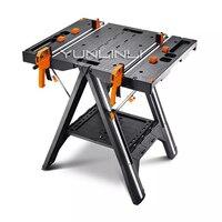 Универсальный рабочий стол портативный складной деревообрабатывающая пила стол и Sawhorse с быстрые зажимы и держателями колышков WX051