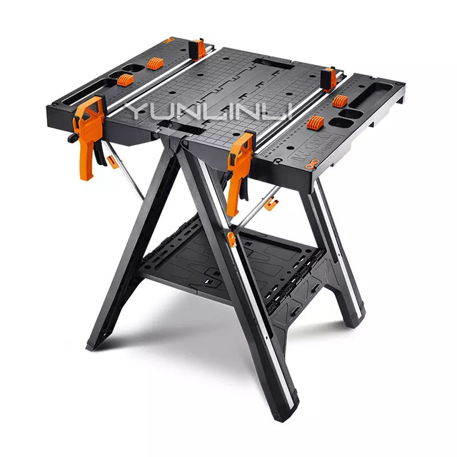 Multi-function Working Table Portable Folding Woodworking Saw Table & Sawhorse With Quick Clamps And Holding Pegs WX051