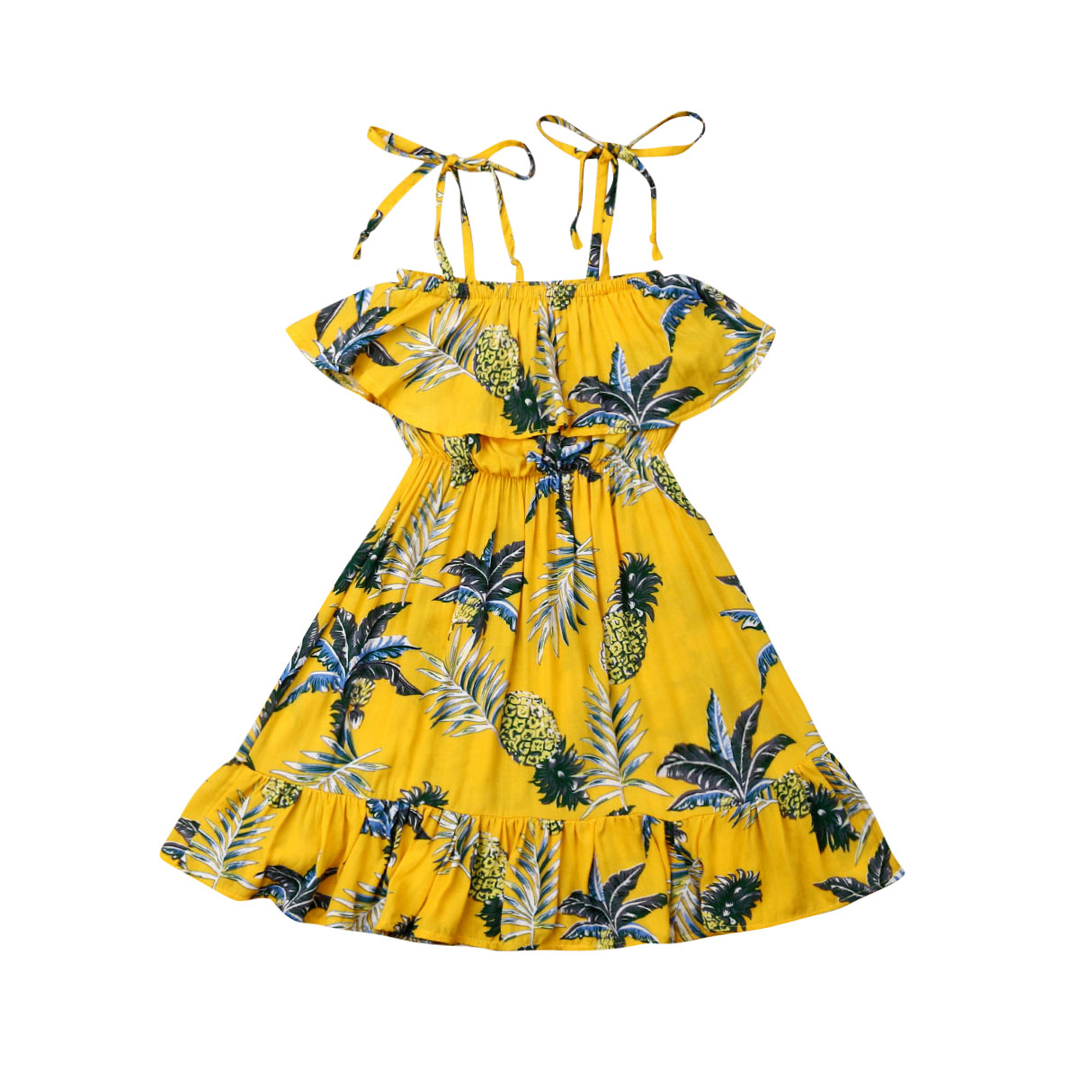 Newborn Kid Baby Girl Sleeveless Sling Ruffles Holiday Leaves Pineapple Yellow Cuet Dress Party Princess Floral Sundress Outfit(China)