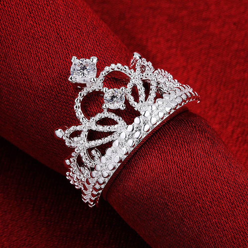 Christmas Lady Special Hot Silver Plated Crown Wedding Jewelry Cute Woman Sparkling Crystal Crown Ring