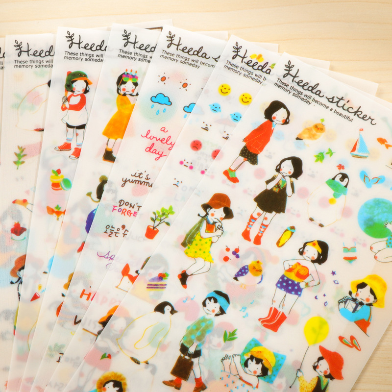 6Sheets/Pack Korean New Dress Up Girl Heeda DIY Cartoon Scrapbook Paper Diary Stickers Decoration Stationery Label Sticker E0147