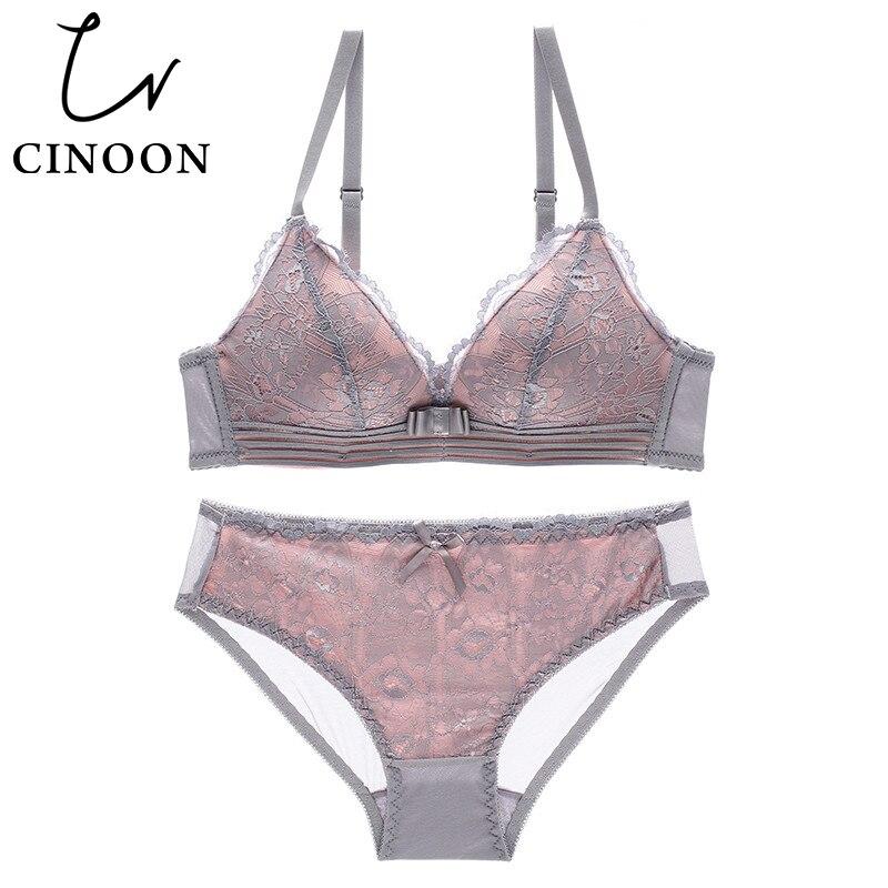 CINOON NEUE Sexy Dessous Bh Set weibliche draht freies Unterwäsche Spitze Dessous Push-Up bralette Komfortable Bh und panty Sets