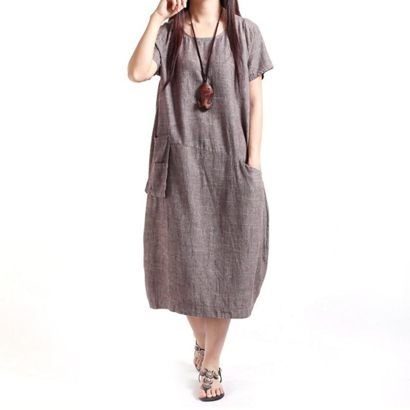 Loose Women Dresses Cotton Linen Ladies Dress Fluid Casual Loose Sundress Dress New Recommend