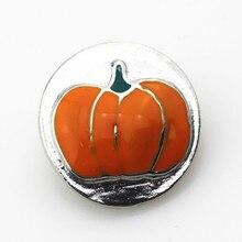 New 20pcs/lot metal enamel halloween pumpkins ginger snap buttons djiy jewelry for 18mm snap bracelet pendant