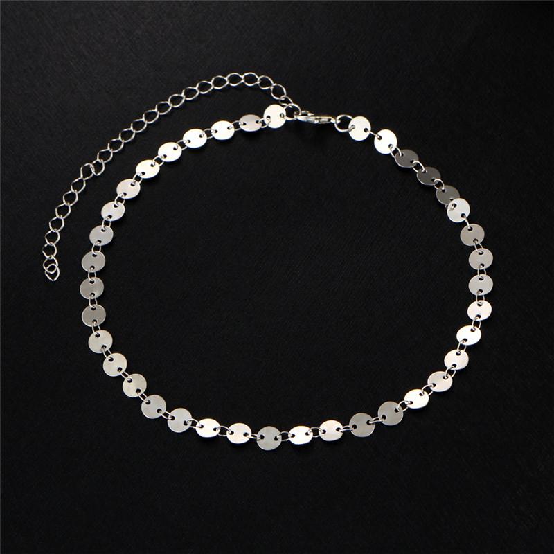 MISANANRYNE Simple Women/Men Bangle Gold Color personality retro alloy round Flat sequins Link Chain Bracelet Pulseira 6