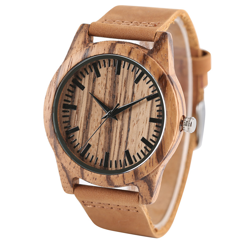 2017 New Arrival Cool Men Quartz Wristwatch Hand-made Nature Wooden Design Case Genuine Leather Band Scale Dial Male Watch Gift
