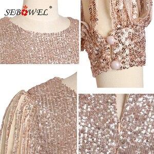 Image 5 - Sebohel robe de soirée à paillettes, manches longues, tenue Sexy, moulante, à paillettes métalliques, pour femme