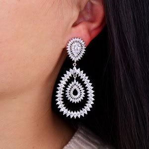 Image 4 - GODKI 브랜드 뉴 핫 패션 인기있는 럭셔리 워터 드롭 전체 큐빅 지르코니아 포장 바늘 웨딩 귀걸이 여성을위한