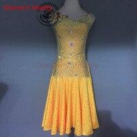 Dancer's Vitality Harness Style Shiny Diamond Back Opening Latin Dance Dress Women Samba Salsa Tango Dress For Vestido De Festa