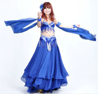 2017 High Quality Blue Sexy Belly Dance Costume Set for Women Sequin Belly Dancing Belt Bra Costumes on Sale 2pcs(bra+belt)
