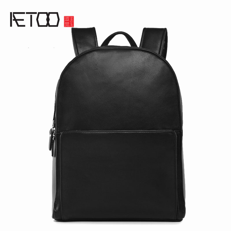 AETOO Leather men bag shoulder travel computer backpack head layer cowhide business travel casual bag men aetoo shoulder bag male leather backpack student bag fashion business computer bag head layer cowhide men and women backpack