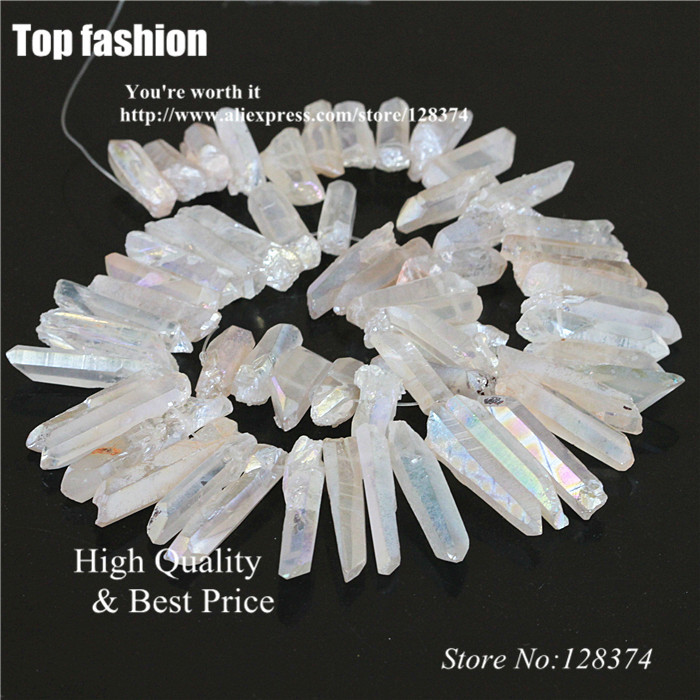 Genteel Rough Titanium Clear Quartz Ab Crystal Points Drilled Briolettes Natural Druzy Faceted Stone Pendants Beads For Jewelry Making To Invigorate Health Effectively Beads & Jewelry Making