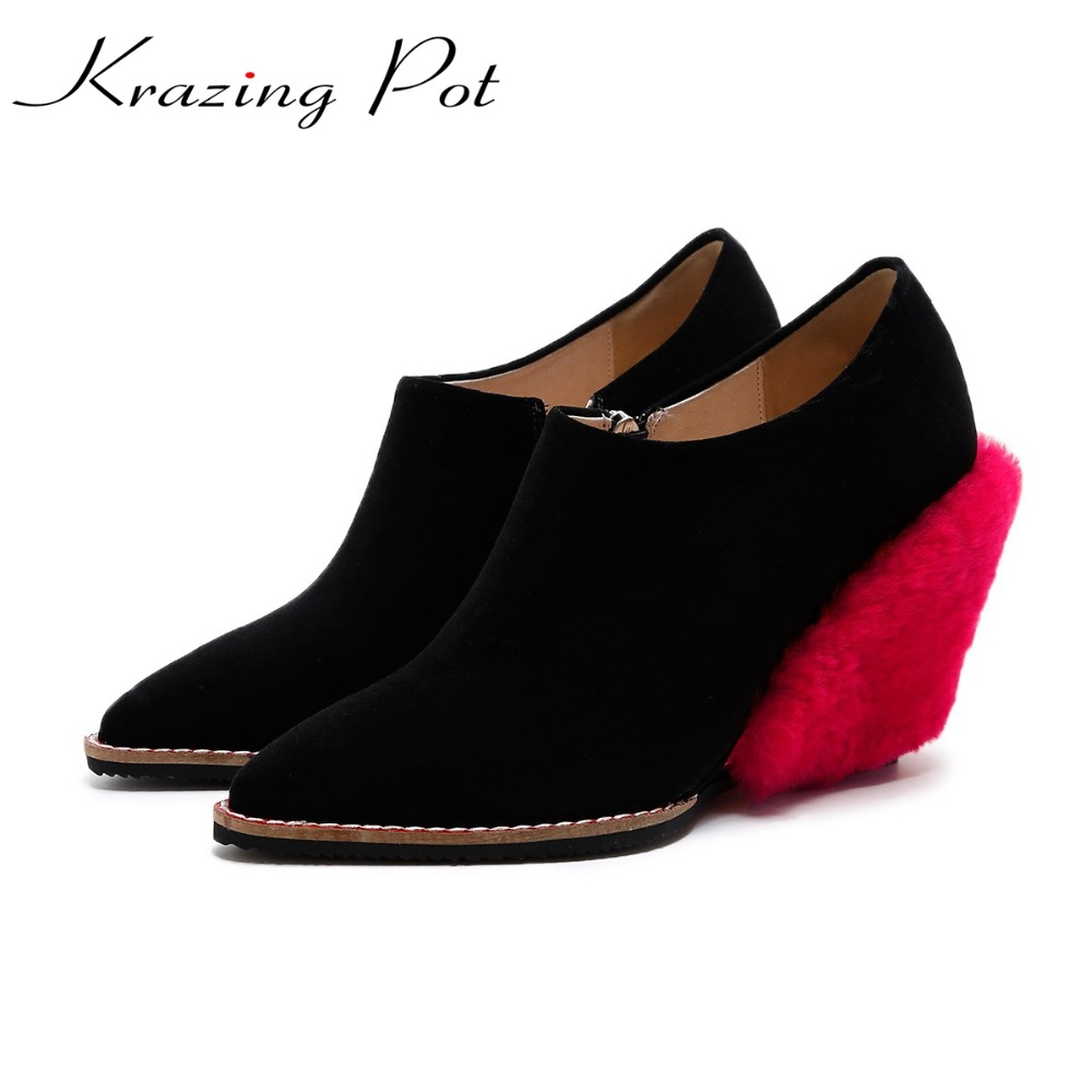 KRAZING POT vintage cow suede lambswool brand shoes wedges high heel women pumps pointed toe autumn winter office lady shoes L33 krazing pot shallow fashion brand shoes genuine leather slip on pointed toe preppy office lady thick high heels women pumps l18