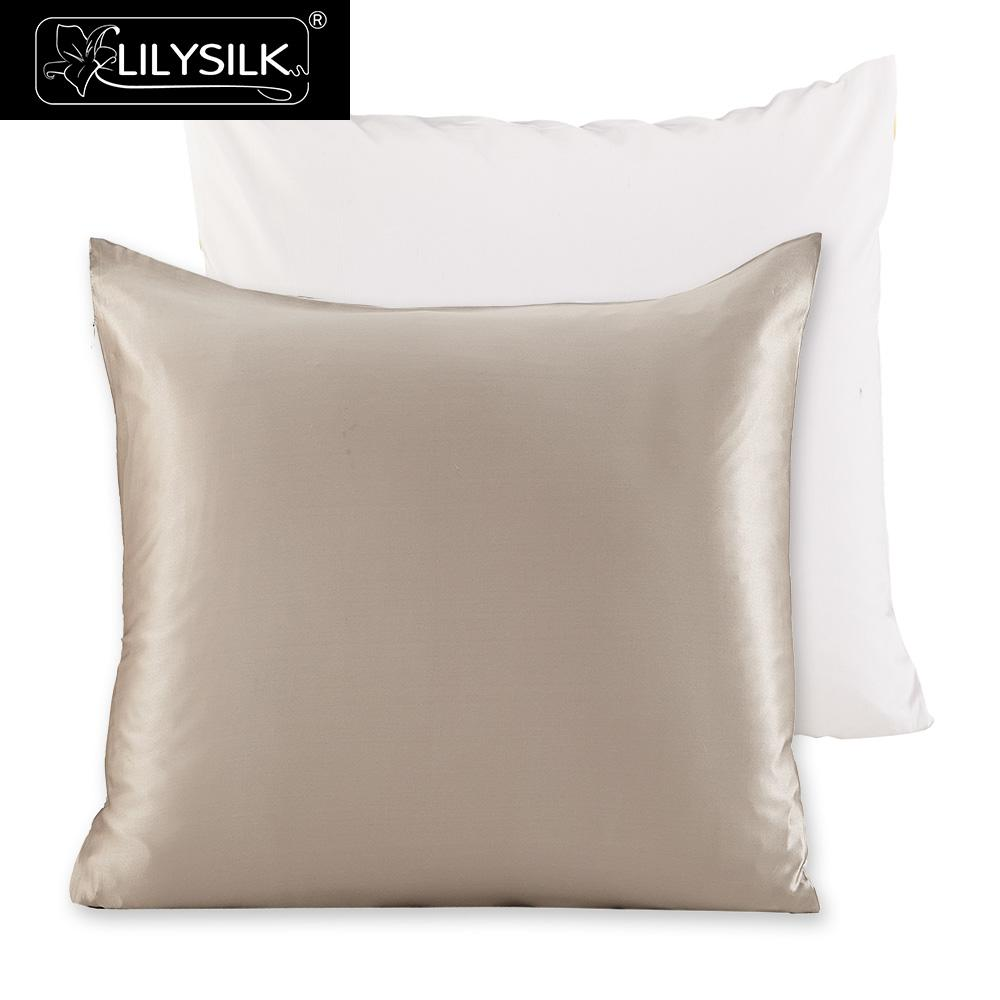 LilySilk Pillowcase 100 Pure Mulberry Silk for Hair with Cotton Underside Natural 19 momme 40x40cm 50x50cm 1 Pcs Free Shipping