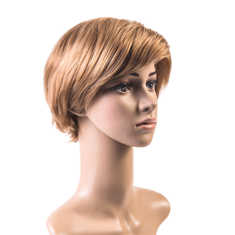 Soloowigs Natural Straight High Temperature Fiber Golden Blonde Hair Pieces Short Full Lace Wig for White Women