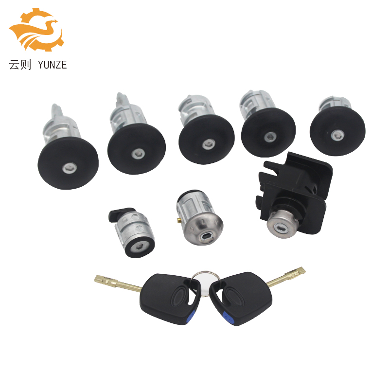 2T1AV22050AD 4425134 COMPLETE LOCK SET IGNITION SWITCH LEFT RIGHT DOOR LOCK TRUNK LOCK FOR FORD TRANSIT CONNECT 2002-2007 8PCS