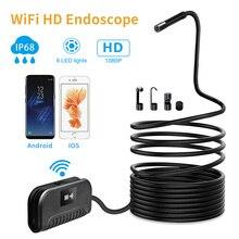 2.0MP Полужесткий wifi эндоскоп камера мини IP68 Водонепроницаемая Инспекционная камера 8 мм USB эндоскоп IOS эндоскоп для Iphone планшета