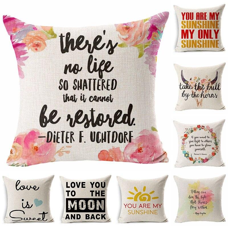 love Beautiful Letter Printed Cotton Linen Pillowcase Decorative Pillows Cushion Use For Home Sofa Car Office Almofadas Cojines