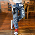 Boy Fashion Casual Letter Printed Jeans Kid Denim Pants