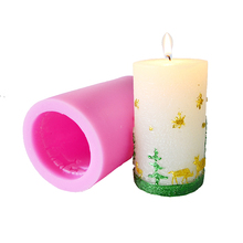 Christmas Candle Silicone Mold Cylindrical with Trees and Deer Embossed Pattern DIY Handmade Soap Mould