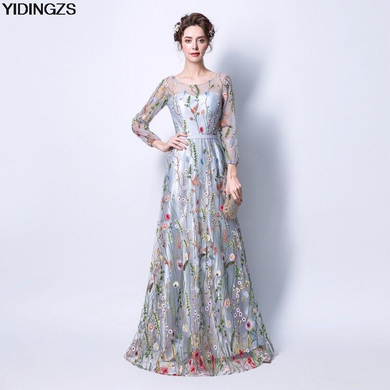 YIDINGZS Femmes de Robe Formelle Gris Zipper Retour Fleurs Broderie Manches Longues Robe de Soirée Partie Robe De Soirée
