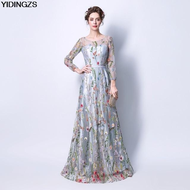 d6e00e510 YIDINGZS Formal De las mujeres vestido gris cremallera bordado flores manga  larga noche vestido De fiesta