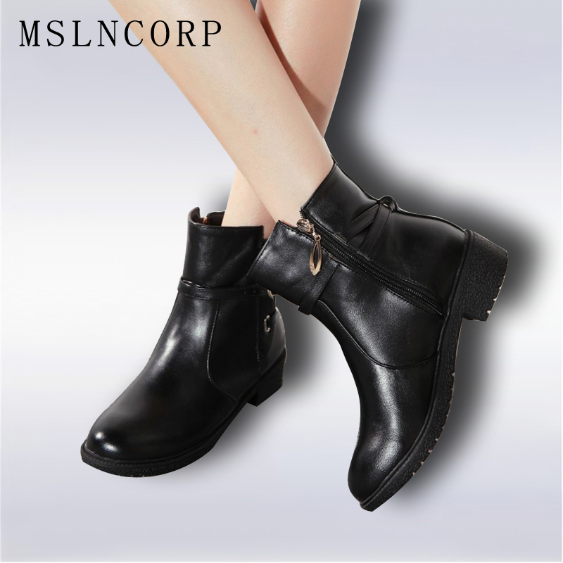 plus size 34-43 New Fashion Autumn Winter Boots Women Classic Zip Ankle Boots Warm Plush Leather Casual Martin Boots Women Shoes plus size 46 mens casual high top shoes winter warm plush ankle boots men shoes outdoor fashion cotton shoes mountain zapatos