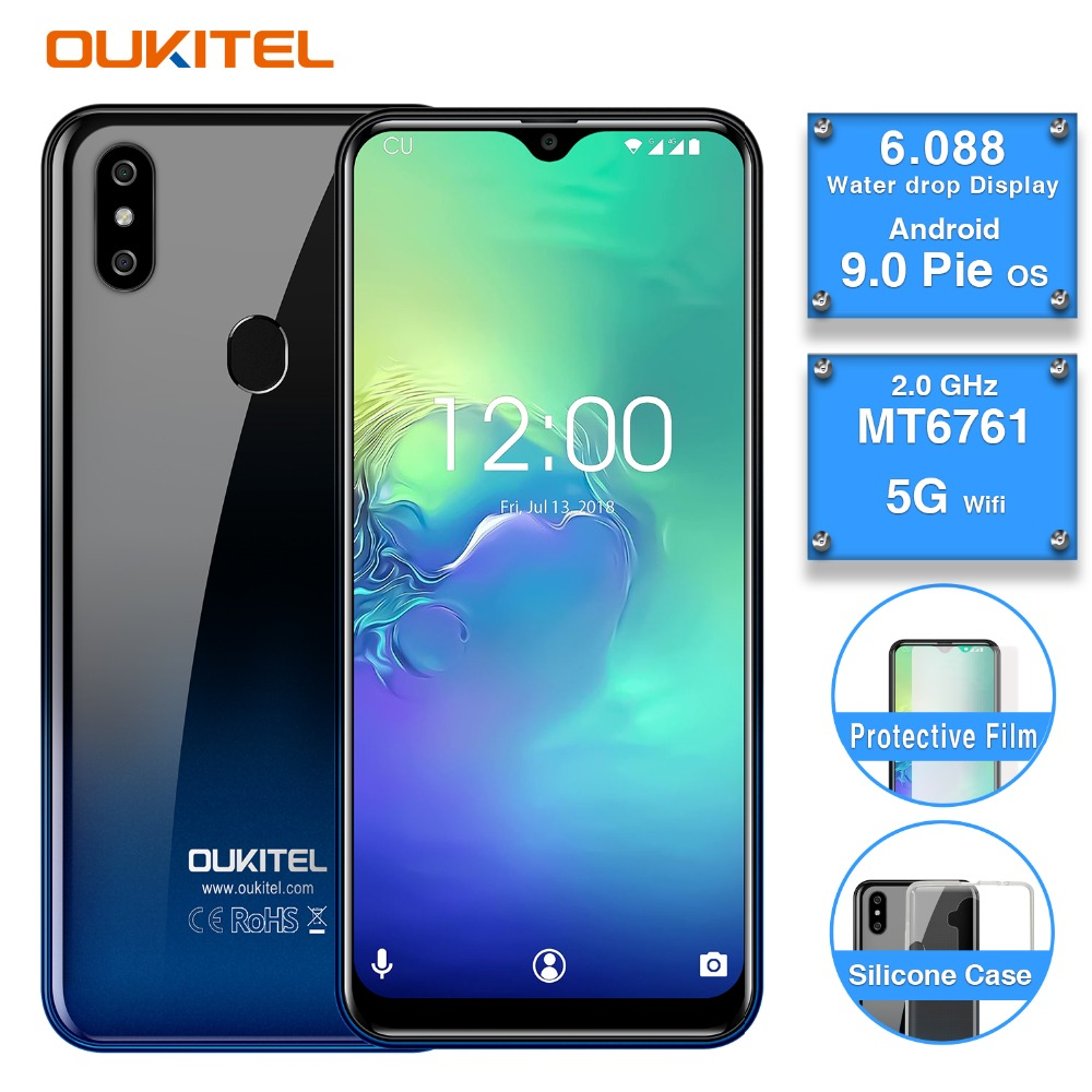"""2019 OUKITEL C15 PRO 6.088""""FHD 19:9 Water Drop 2GB 16GB Android 9.0 MT6761 Quad Core smartphone 2.4/5G WIFI 4G LTE mobile phone"""