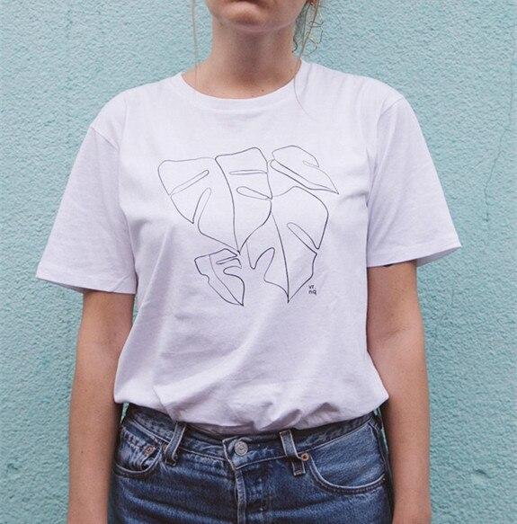 Frauen Kleidung & Zubehör T-shirts Kuakuayu Hjn Monstera T-shirt Linie Kunst Unisex Handgemachte Siebdruck Der Preis Bleibt Stabil