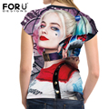FORUDESIGNS Women T-Shirt Crop Tops Cool Punk Harley Quinn Womens Top Tees Clothing Short-sleeved T shirt Girls Roupa Feminina
