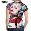 Forudesigns mujeres camiseta crop tops frescos punk harley quinn clothing top para mujer camisetas de manga corta camiseta niñas roupa feminina